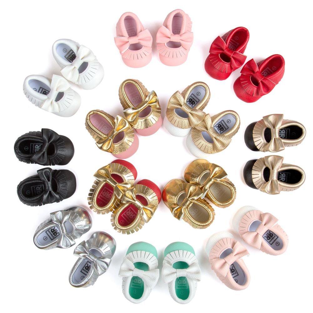 BOBORA Chaussures Bebe en Cuir Souple, Chaussons Bebe Filles Garcons Premiers Pas Avec Tassel pour 0-6, 6-12, 12-18Mois BO-FR638