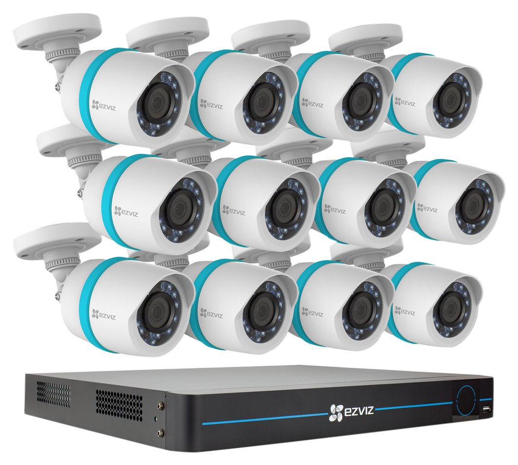 EZVIZ QUAD HD 4MP Outdoor IP PoE Surveillance System, 12 Weatherproof HD Security Cameras, 16 Channel 3TB NVR Storage, 100ft Night Vision, Customizable Motion Detection