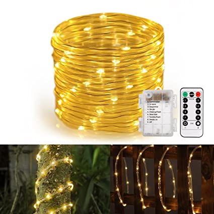 Amazon.com : GreenClick LED Rope String Lights Battery Powered 120 ...