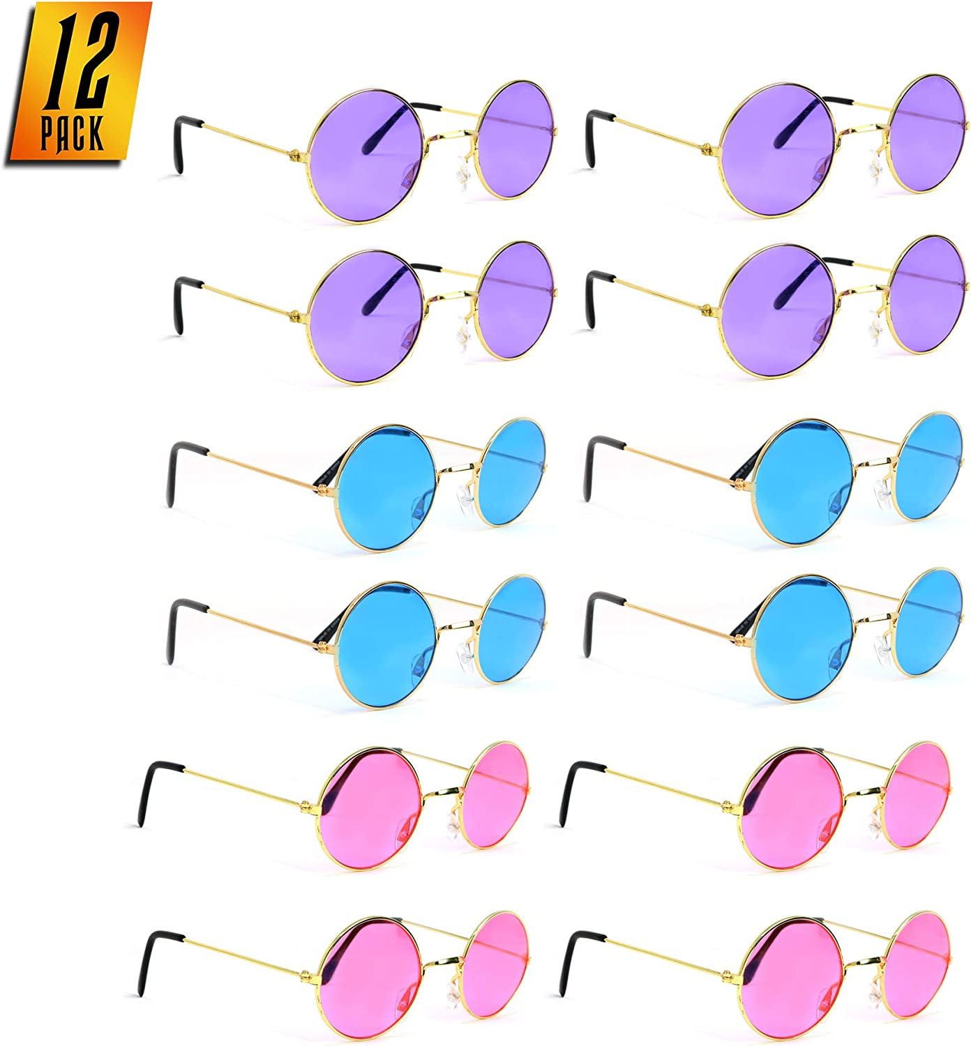 Skeleteen Tinted Round Hippie Glasses – Pink Purple And Blue 60's Style Hipster Circle Sunglasses - 12 Pairs