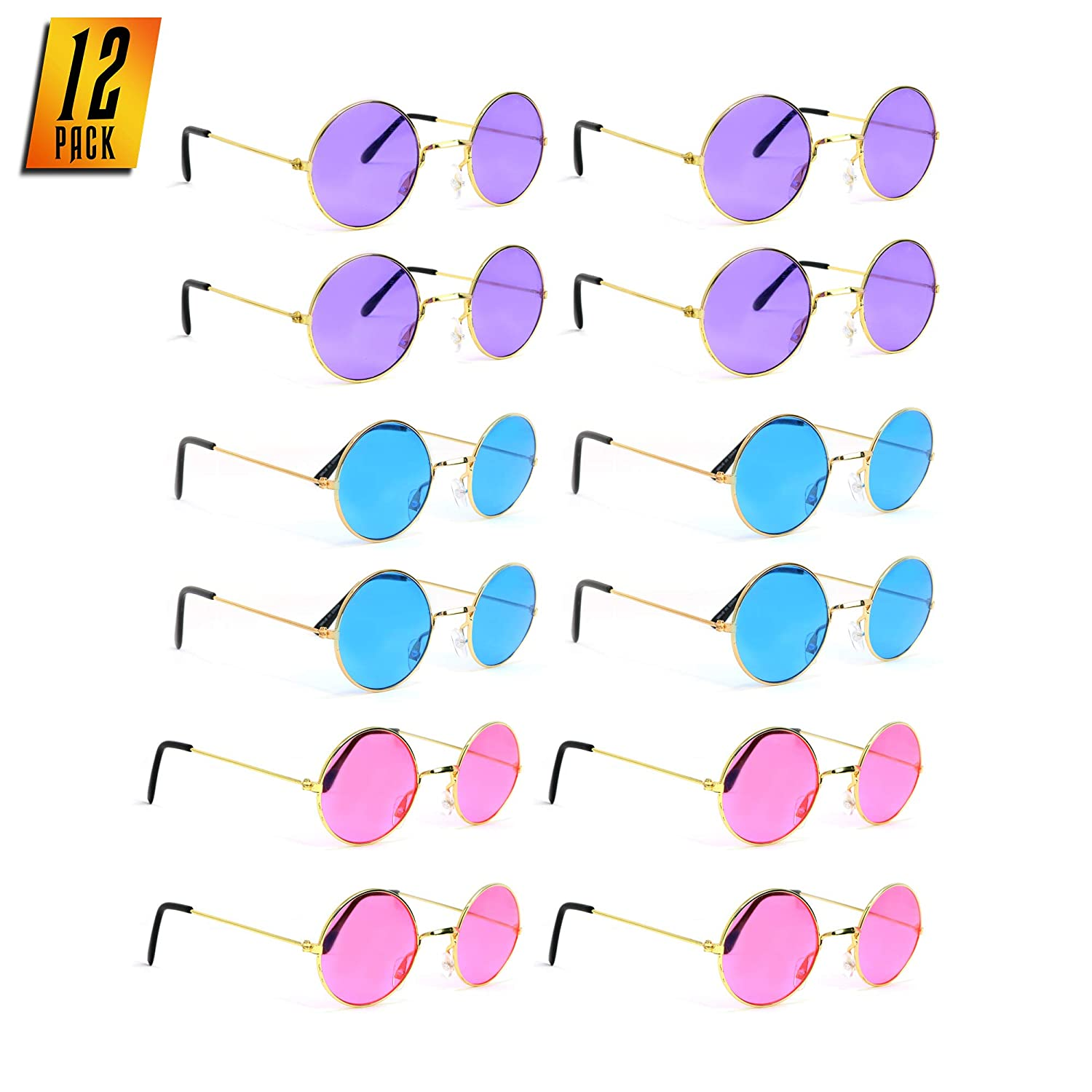 Skeleteen John Lennon Hippie Sunglasses – Pink Purple and Blue 60s Style Circle Glasses Favors - 12 Pairs