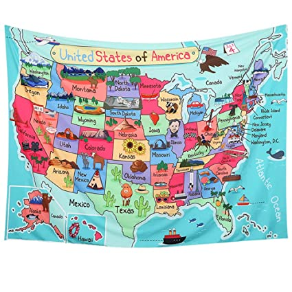 LAVAY Tapestry United States Map Cartoon America USA State Distribution on canada map, florida map, europe map, caribbean map, nevada map, mexico map, africa map, 13 colonies map, tennessee map, us state map, the us map, texas map, full size us map, the world map, great lakes map, arkansas map, missouri map, east coast map, blank map, mississippi map,