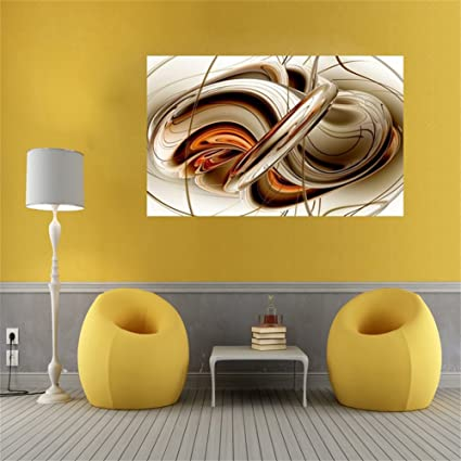 Amazon.com: Hersent Canvas Wall Art Prints Abstractism Brown White ...