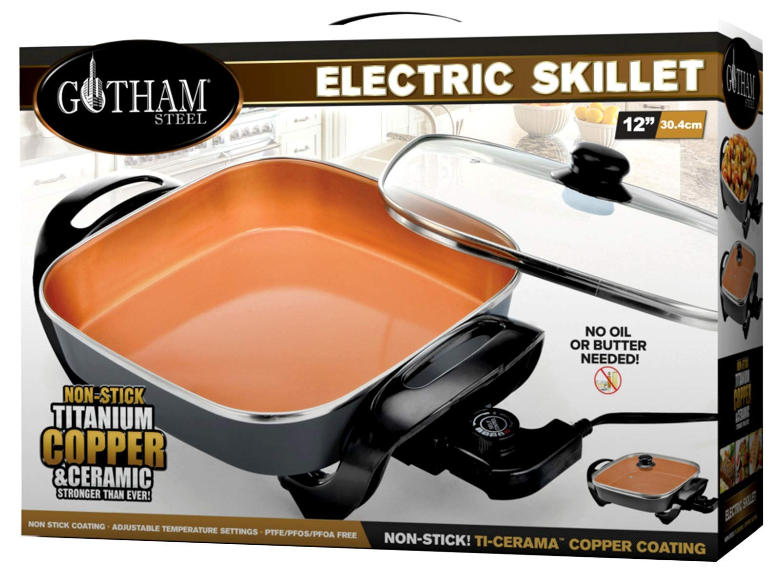 Gotham Steel 2172 Electric Skillet with Nonstick Titanium Copper & Ceramic Coating Immersible with Tempered Glass Lid and Multi Temperature Settings 12 x 12 Inch, Large Brown