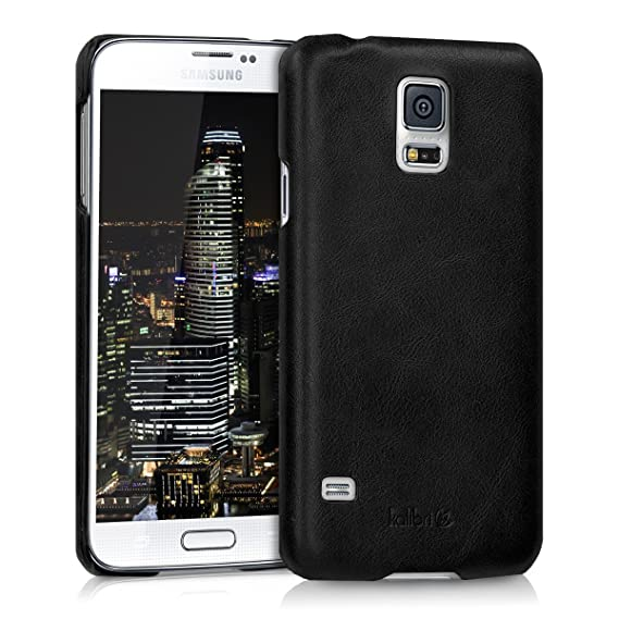 kalibri Case for Samsung Galaxy S5 / S5 Neo - Smooth Genuine Leather Hard Case Anti Slip Protective Back Cover - Black