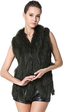Brown Knitted Rabbit Jacket Sleevess Vest Gilet Waistcoat Raccoon Collar Tassels