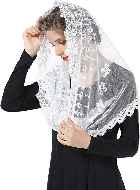 Mantilla De Encaje Española Mujer Capilla Velo Pañuelo de Iglesia Católica Bordado Chal Bufanda Negra Blanca V109: Amazon.es: Ropa y accesorios