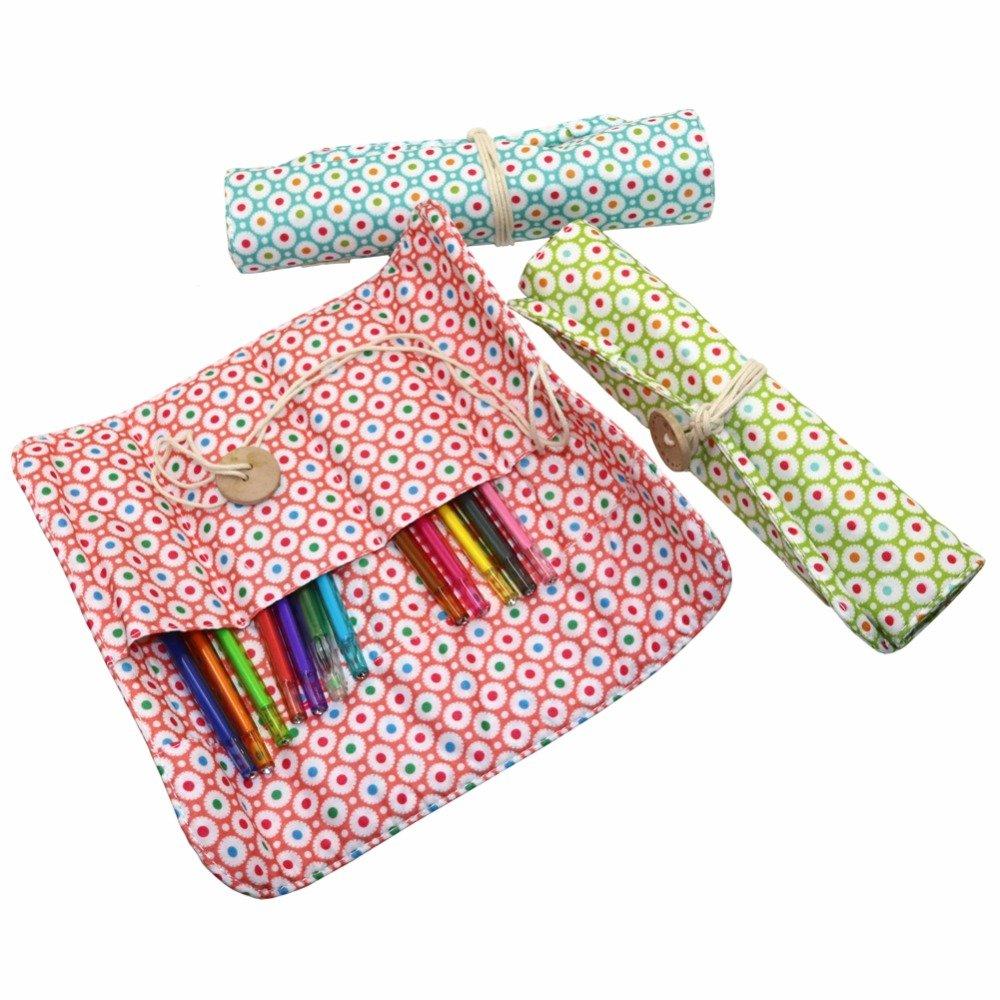 Wave Point roll Pencil case Student Stationery Bag Large Volume Reel Pencil Bag