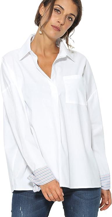 VENCA Camisa Cuello Camisero Mujer by Vencastyle - 012953, Blanco/Rayas, XL: Amazon.es: Ropa y accesorios