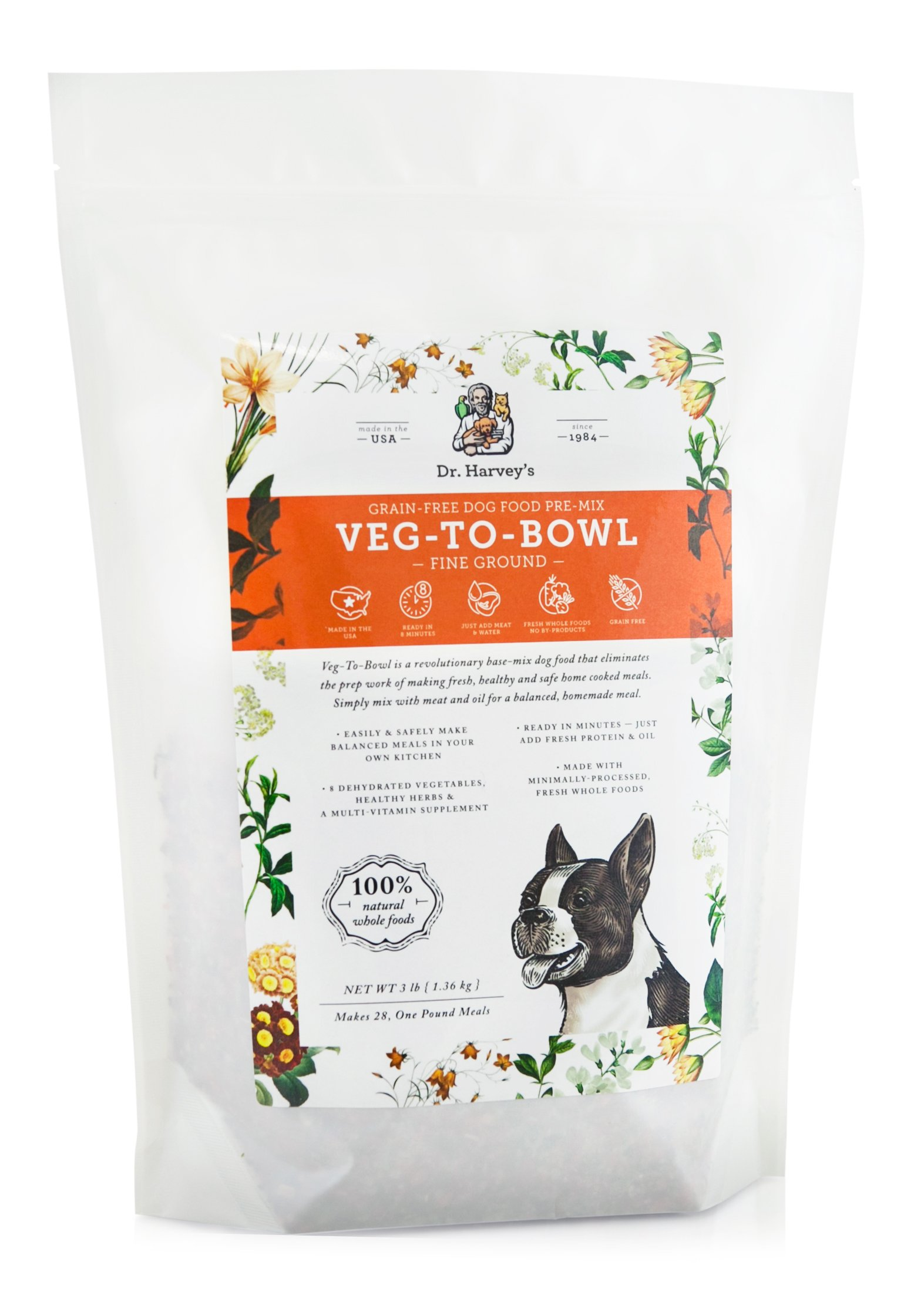 Dr. Harvey's Veg-to-Bowl Fine Ground Dog Food, Human Grade Dehydrated Base Mix for Dogs, Grain Free Holistic Mix for Small Dogs or Picky Eaters (3 Pounds) by Dr. Harvey's