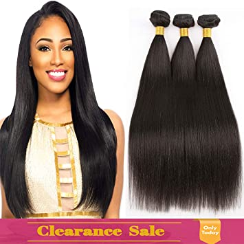 Amazon.com   9A Brazilian Straight Human Hair Weave 3 Bundles 7cf2d5ef3e