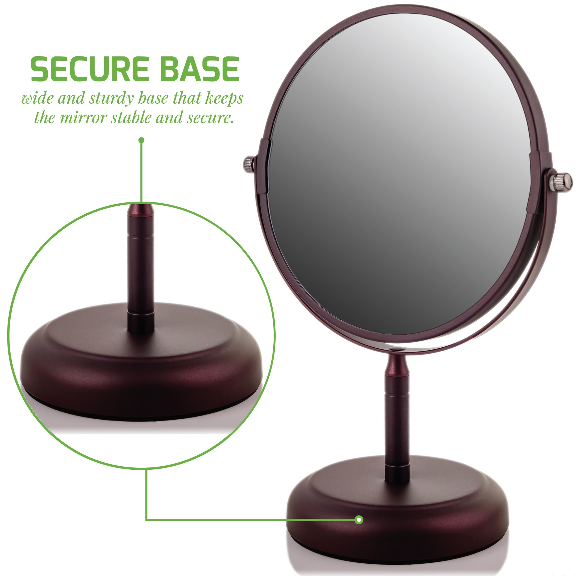 Ovente Round Tabletop Vanity Mirror, 7 Inch, Dual-Sided with 1x/5x magnification, Antique Bronze (MNLDT70ABZ1X5X) by Ovente (Image #7)