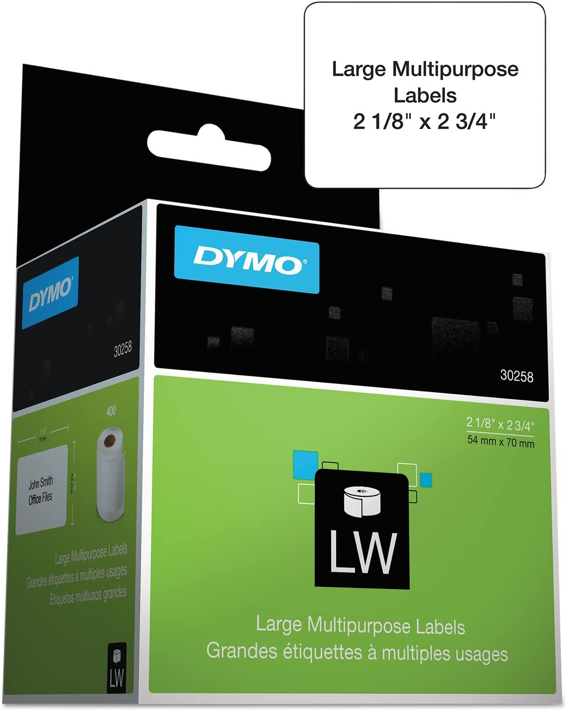 Dymo 30332 LabelWriter MultiPurpose - Permanent adhesive labels - black on white - 0.98 in x 0.98 in 750 label(s) (1 roll(s) x 750) - for DYMO Desktop Mailing Solution Twin Turbo LabelWriter & Scale