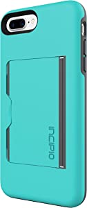 Incipio Stowaway iPhone 8 Plus & iPhone 7 Plus Case with Credit Card Slot Holder and Integrated Stand for iPhone 8 Plus & iPhone 7 Plus - Turquoise/Charcoal