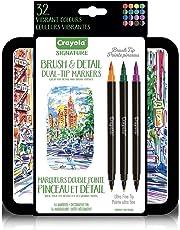 CRAYOLA Brush & Detail Dual Tip Markers, Calligraphy Set, Gift