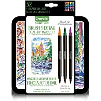Crayola Signature Brush & Detail Dual Tip Markers,16pk, 32 Colours, Brush Tip, Pen Tip, Calligraphy Set, Lettering, Detailing, Gift, Art Set, Storage Tin
