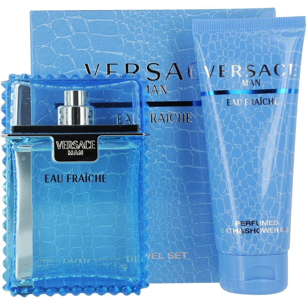 VERSACE MAN EAU FRAICHE by Gianni Versace EDT SPRAY 3.3 OZ & SHOWER GEL 3.4 OZ (TRAVEL OFFER) for MEN ---(Package Of 5)