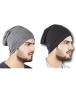 Huntsman Era Men's Cotton Beanie Cap (Black, Free Size) - Pack of 2