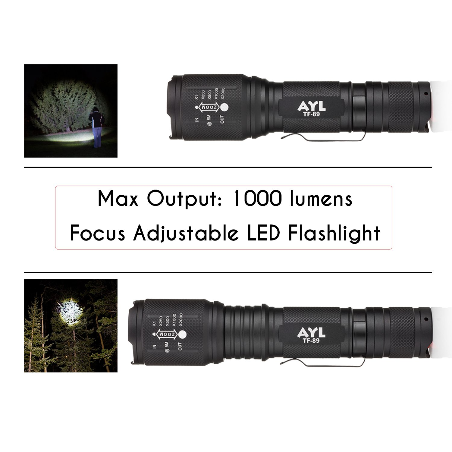 AYL LED Flashlight Tactical Flashlight - [2 Pack] 1000 High Lumens CREE Torch Light, Ultra Bright Emergency Handheld Flashlights by AYL (Image #3)