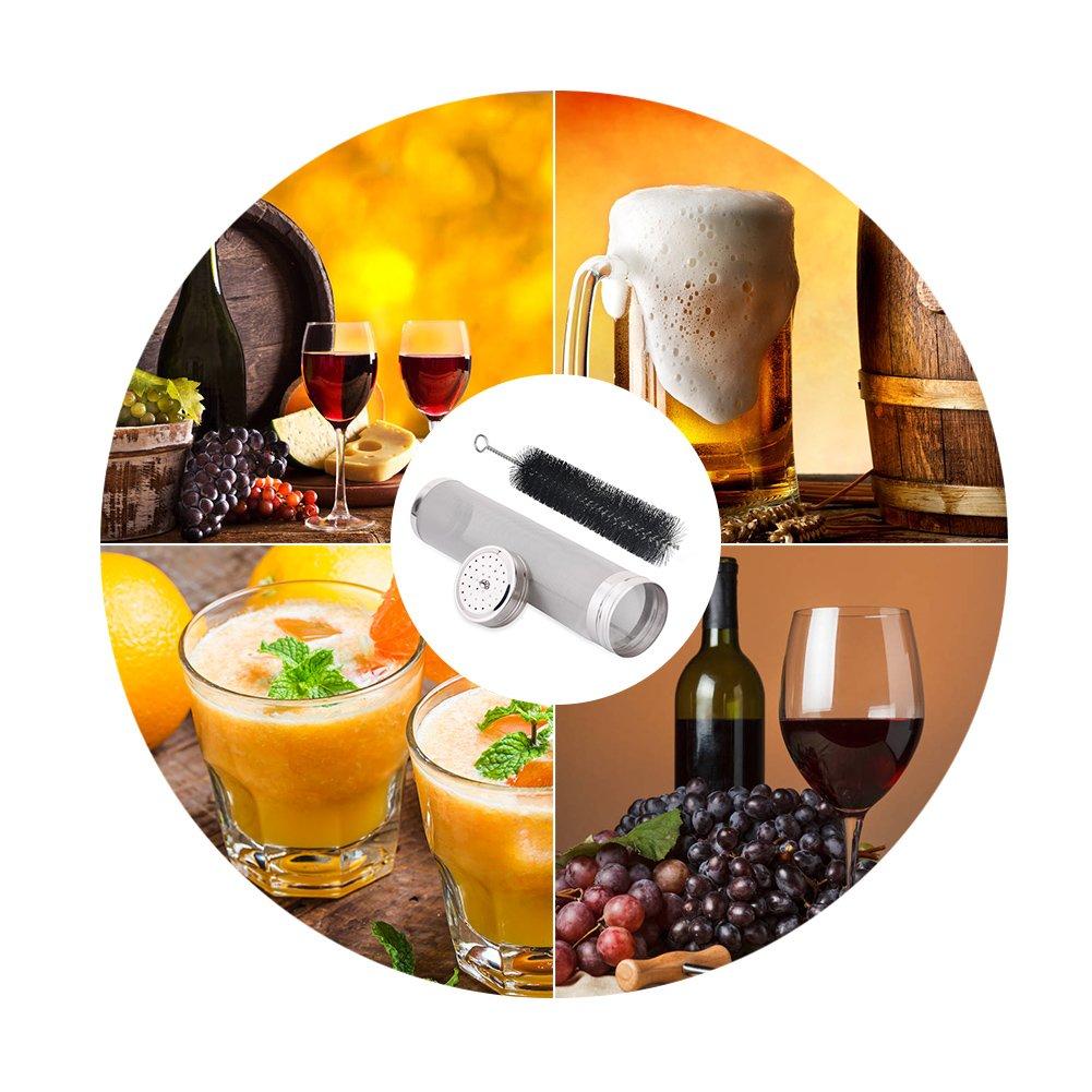 Filtre Vinification 304 Acier Inoxydable Bi/ère vin Brassant Filtre avec Brosse de Nettoyage Jus Vinifiant Filtres pour Bouilloire 29 7cm