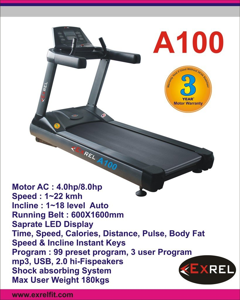 Buy EXREL A100 Motorised Commercial Treadmill 4HP AC Online at Low