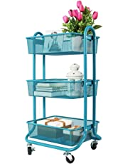 DESIGNA 3-Tier metal Utility Rolling handle mesh Storage Cart Ideal for Bed room Kitchen Bathroom Garage Office Arts and Crafts or Nursery (Blue)