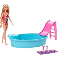 ​Barbie Doll, 11.5-Inch Blonde, and Pool Playset with Slide and Accessories, Gift for 3 to 7 Year Olds