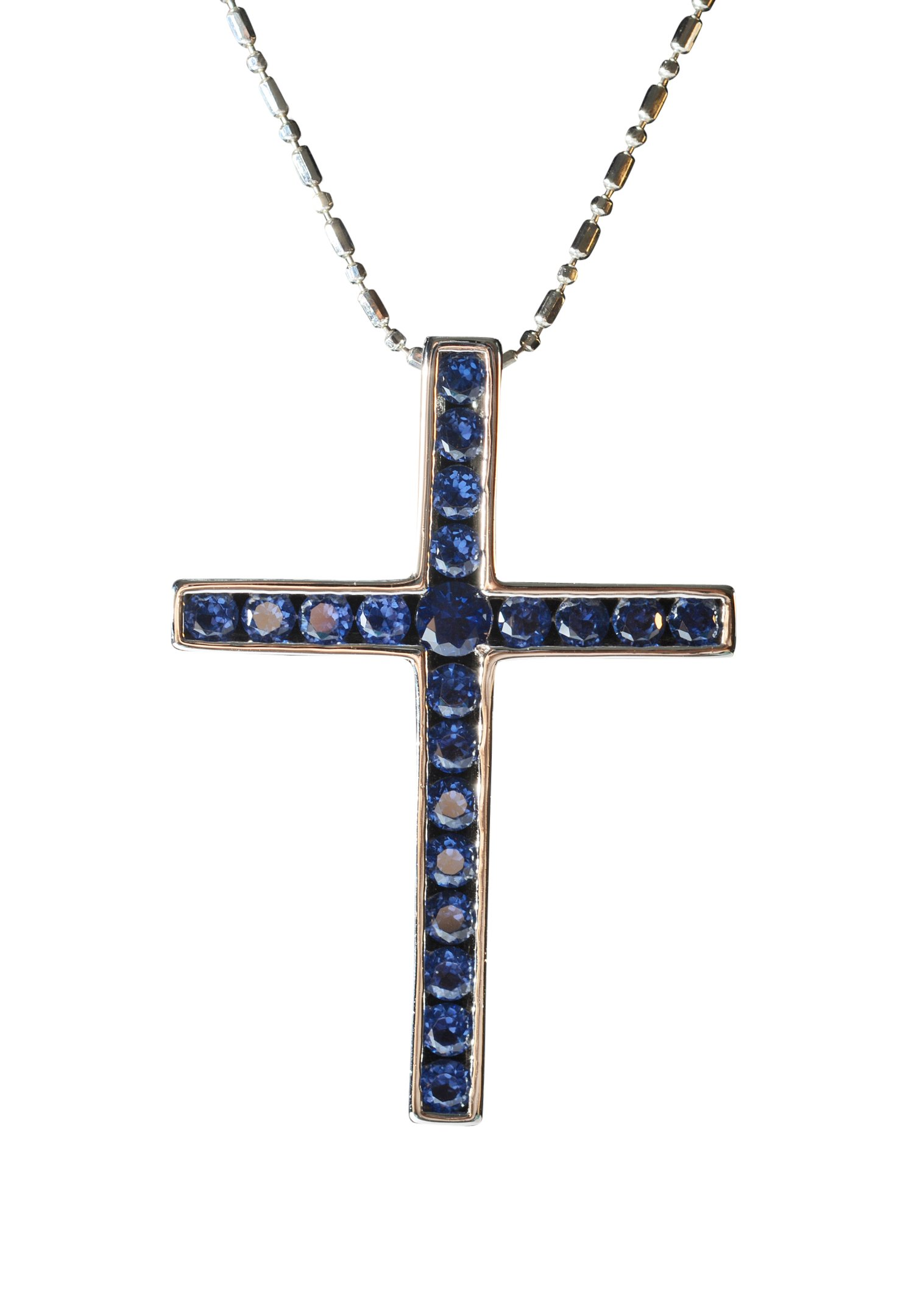 Tingle Cross Pendant Necklace Sterling Silver Cross Pendant Necklace for Men Silver Cross Sapphire CZ Cross Pendant Necklace Silver Cross Pendant for Women (Saphire Zircon)
