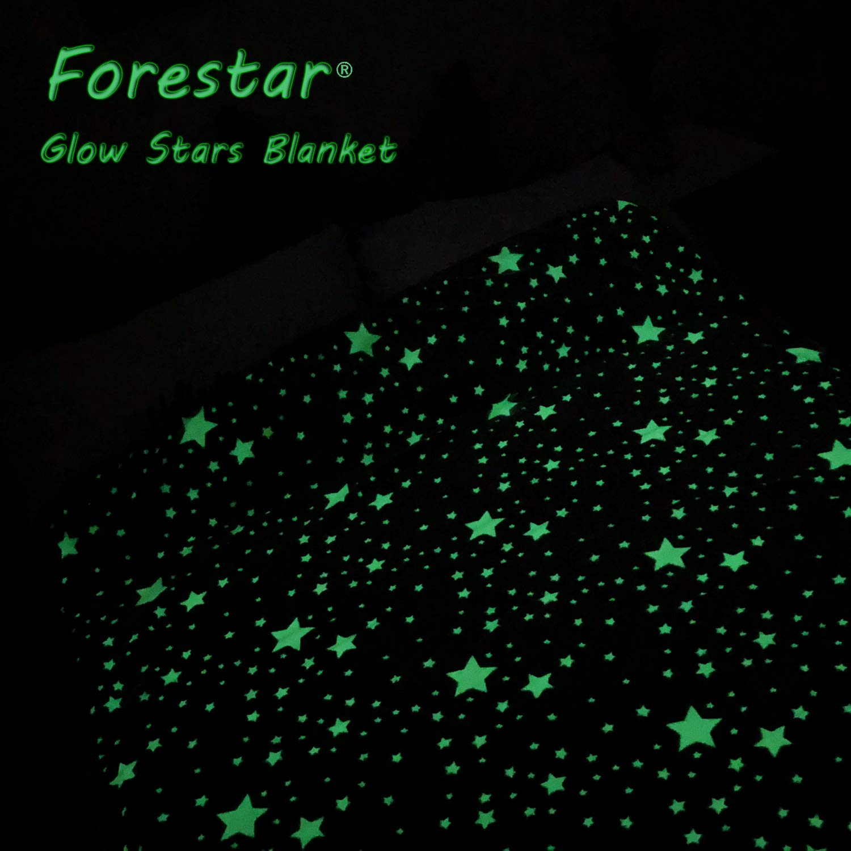Forestar Glow in The Dark Throw Blanket, Birthday Gift for Kids Boys Girls Toddlers, Premium Super Soft Fuzzy Fluffy Plush Furry Throw Blanket (50'' x 70'' Gray) by Forestar (Image #6)