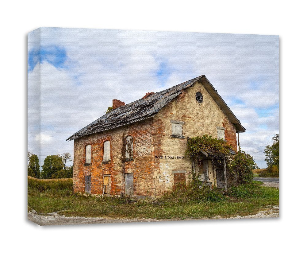 Abandoned Photography Old School Canvas Gallery Wrap Wall Decor 'Hill School'