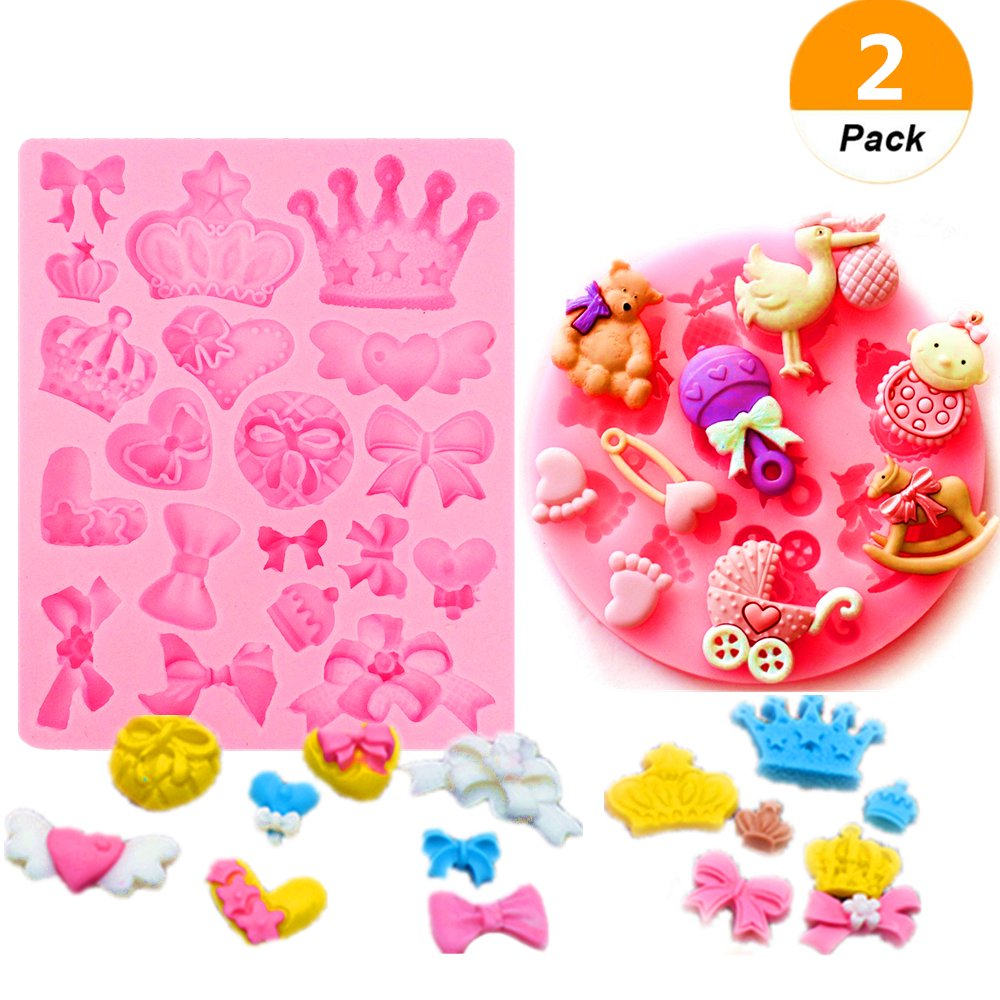 Sakolla(Set of 2)Mini Silicone Sugar Fondant and Cake Mold Baby Shower Theme Pink Assorted Bows Crown Heart Silicone Mold craft Fondant Polymer Clay Crafting Projects Cake Decorating for Sugar