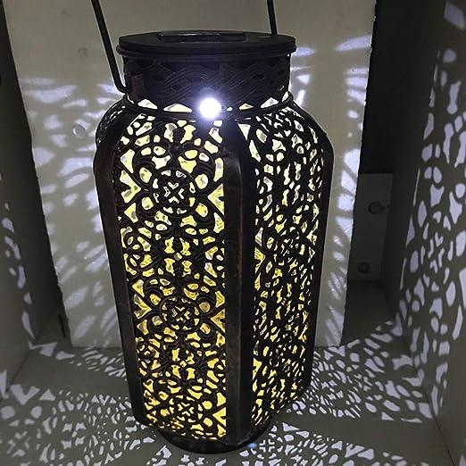 EMVANV - Farol Solar para Exteriores con Luces solares para jardín, Sombra de Hojas, decoración de Patio, Metal, Accesorios de jardín, Decoraciones Impermeables para Porche: Amazon.es: Jardín