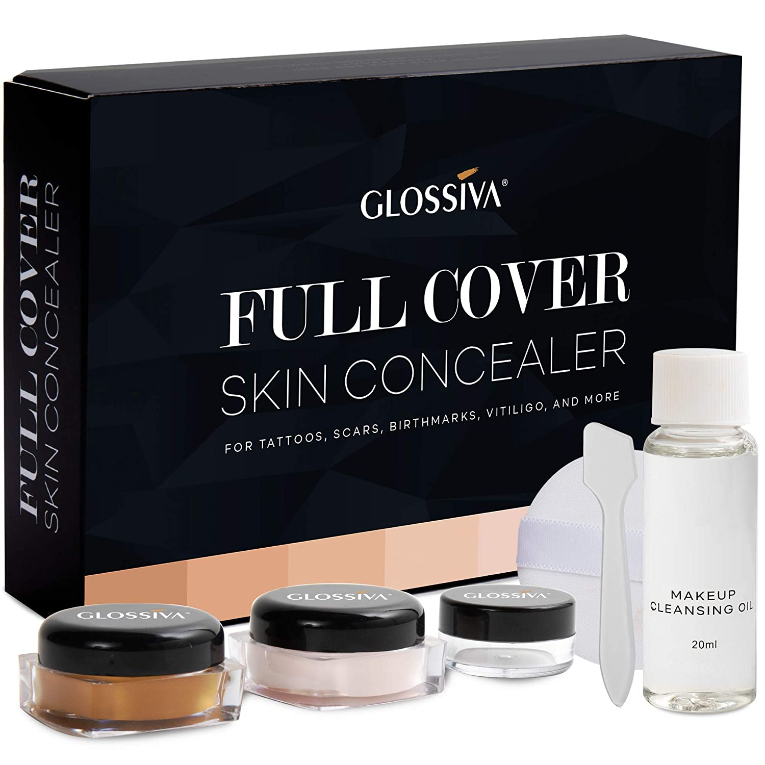 Amazon Com Glossiva Tattoo Concealer Skin Concealer Waterproof For Dark Spots Scars Vitiligo And More Tattoo Cover Up Makeup Use On Body For Legs For Men And Women Beauty