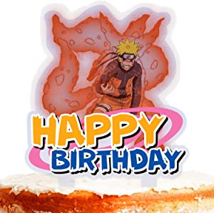 Ninja Cake Topper Happy Birthday Red Cartoon Character Fight Game Heroes Video Game Theme Decor for Baby Shower Birthday Party Decorations Supplies Acrylic