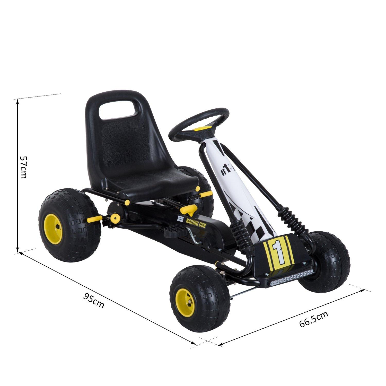 HOMCOM Go Kart Coche de Pedales Racing Deportivo con Asiento Ajustable Embrague y Freno 95x66.5x57cm Blanco y Negro: Amazon.es: Juguetes y juegos