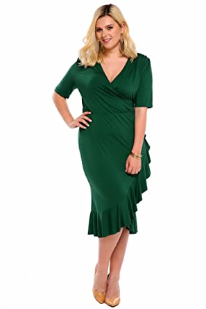Whimsy Wrap Flounce High Low V Neck 34 Sleeves Plus Size Casual