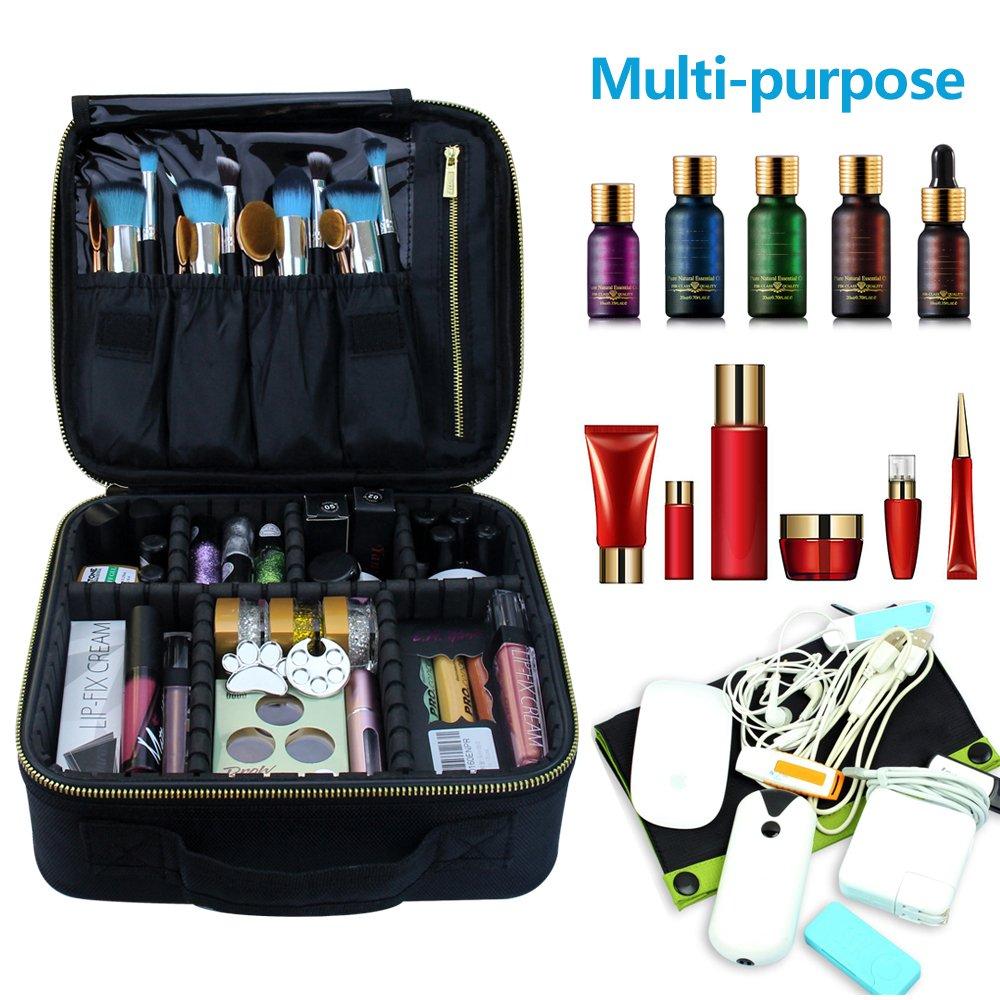 Travel Makeup Case,Samtour- Professional Cosmetic Makeup Bag Organizer,Accessories Case, Tools case (Black-M) by Chomeiu (Image #6)