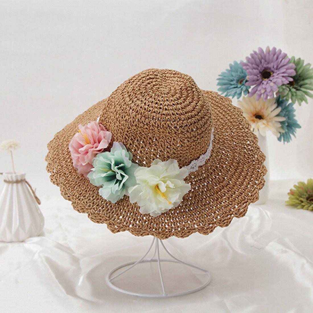 Little Chair Kids Girl Wide Brim Paper Straw Floral Sun Hat Beach Cap