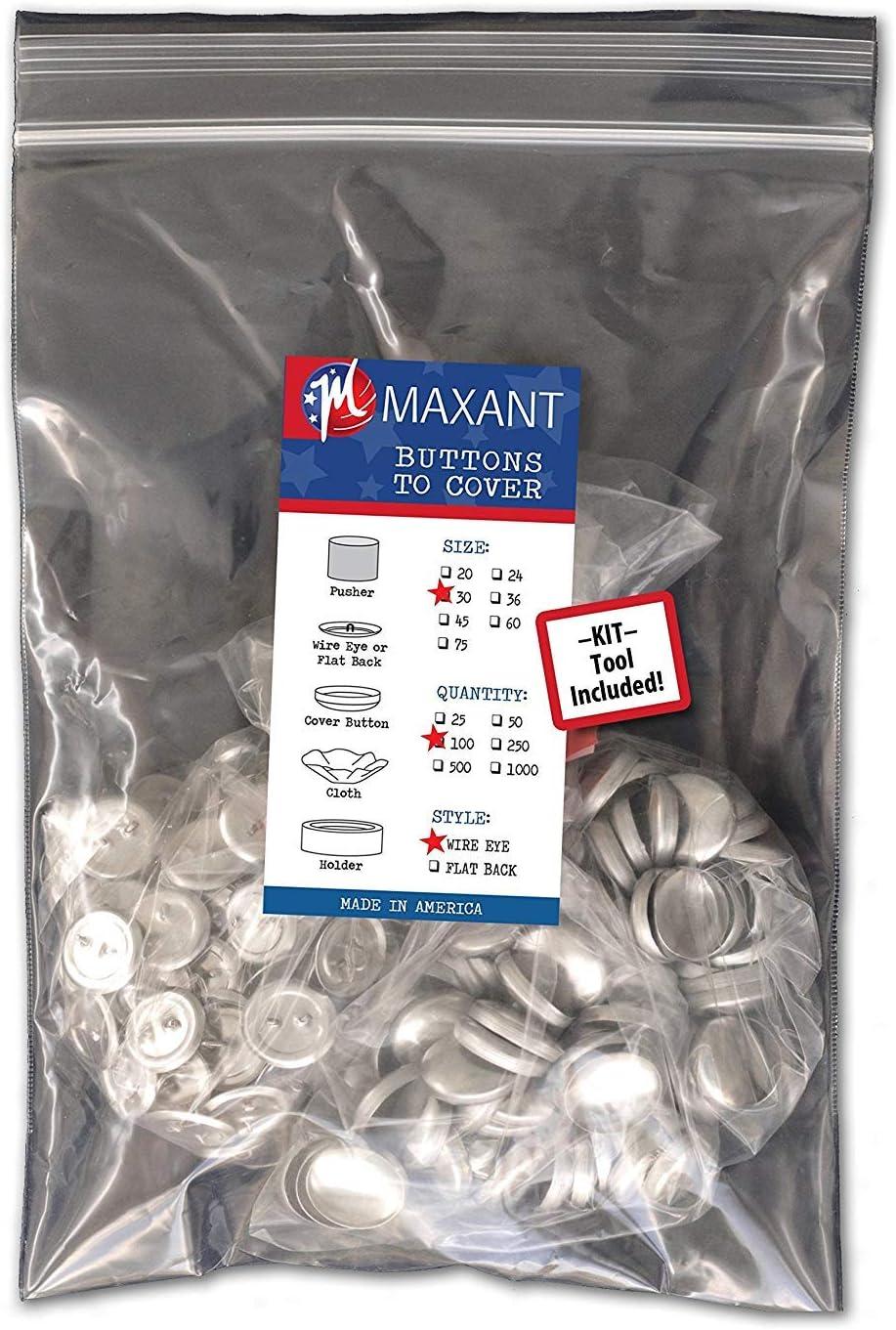 Botones para forrar por ti mismo con respaldo con ojales de alabre - fabricados en EE.UU - Size 30 Wire - Qty 100