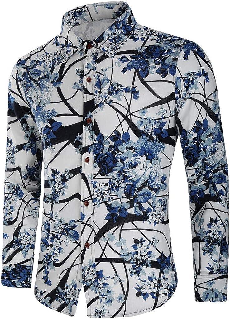 Men Paisley Shirt,Printed Button Down Long Sleeve Hawaiian Top Blouse Dress Shirt by-NEWONESUN