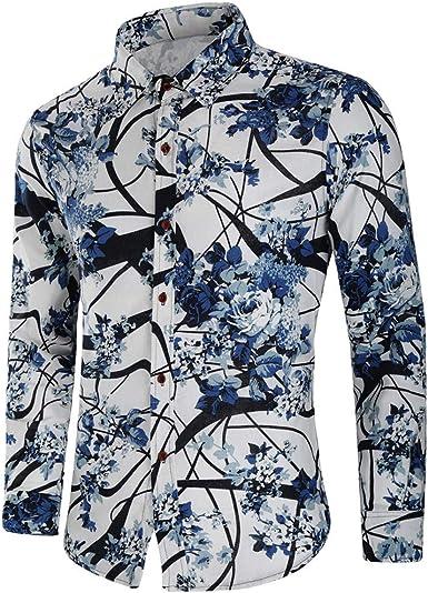 Sylar Hombre Camisa Manga Larga Slim Fit Clásico Básica Botón Formal Negocio Camisa Camiseta De Hombre Slim Fit Camisas De Hombre De Vestir Tops Blusa Hombre Otoño Camisas De Hombre De Flores: