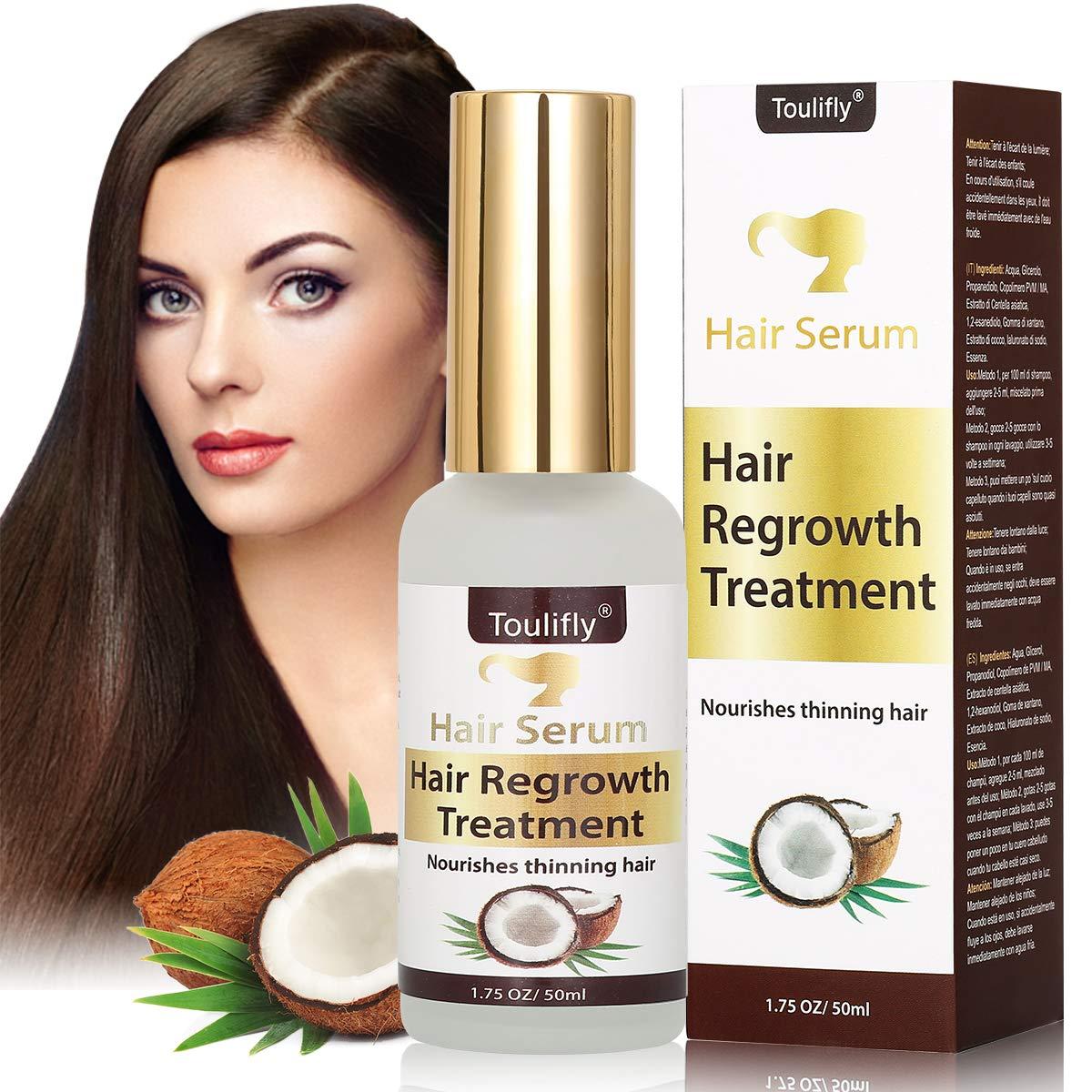 Hair Serum, Anti caduta dei capelli,Siero per la ricrescita dei capelli,Trattamento per capelli al cocco, trattamento ricrescita,rinforza le radici dei capelli e aggiunge lucentezza naturale Toulifly