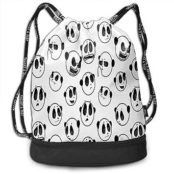 c452b166ac19 Amazon.com: Drawstring Bag Panda Funny Face Womens Gym Backpack ...