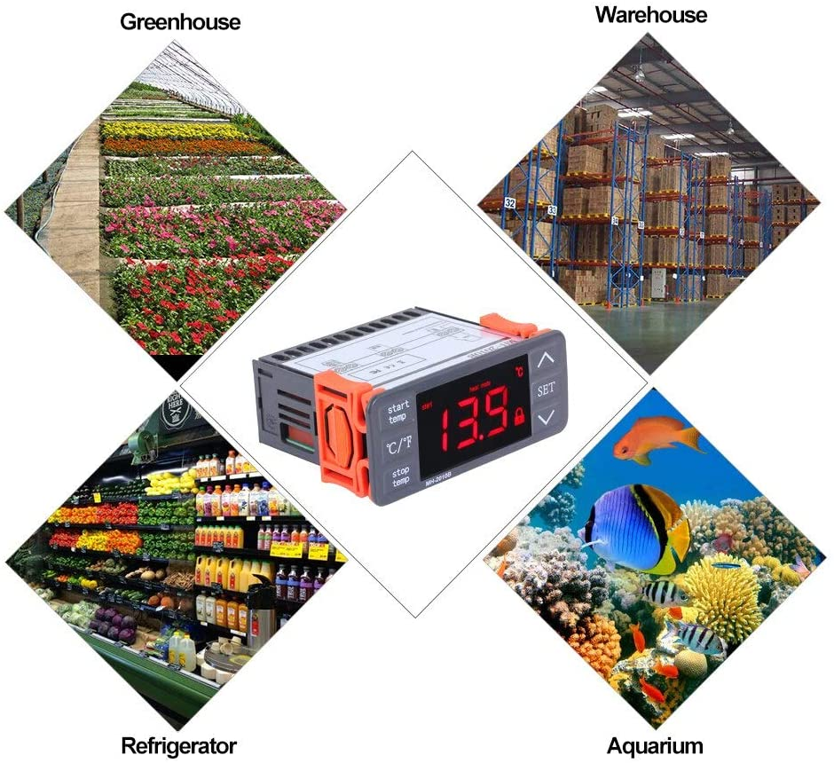 AC220V Digital LED Temperature Controller Touch-keys C/F Heating And Cooling Thermostat 10A 1 Relay With NTC Sensor