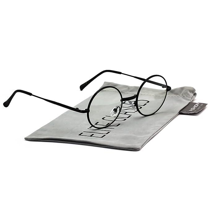 087c9f8592 John Lennon Hipster Fashion Sunglasses Small Metal Round Circle Elton Style  (Black Clear