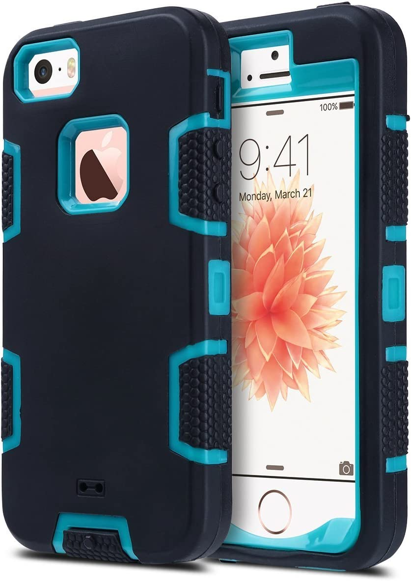 ULAK iPhone 5S Case, iPhone 5 Case,iPhone SE Case, Knox Armor Heavy Duty Shockproof Sport Rugged Drop Resistant Dustproof Protective Case Cover for Apple iPhone 5 5S SE -Blue+Black