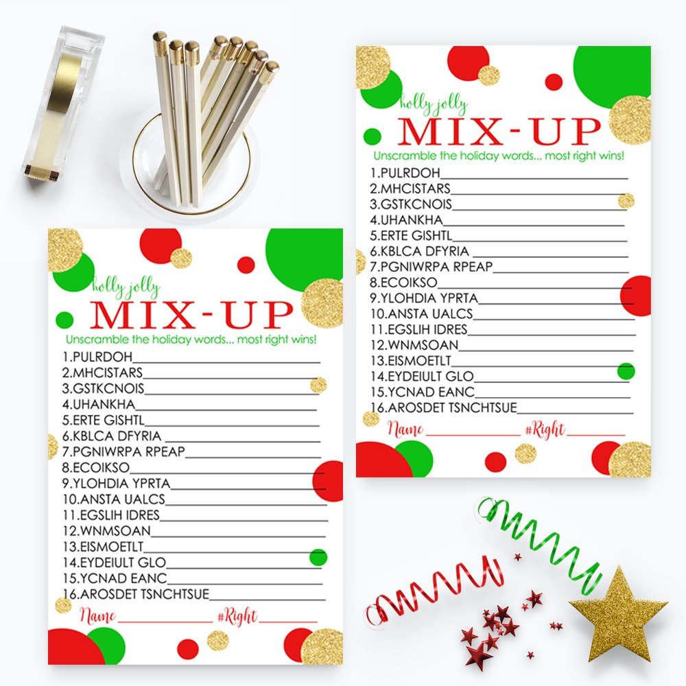 Red and Gold Christmas Word Scramble Party Game Set (25 Pack) by Paper Clever Party (Image #3)
