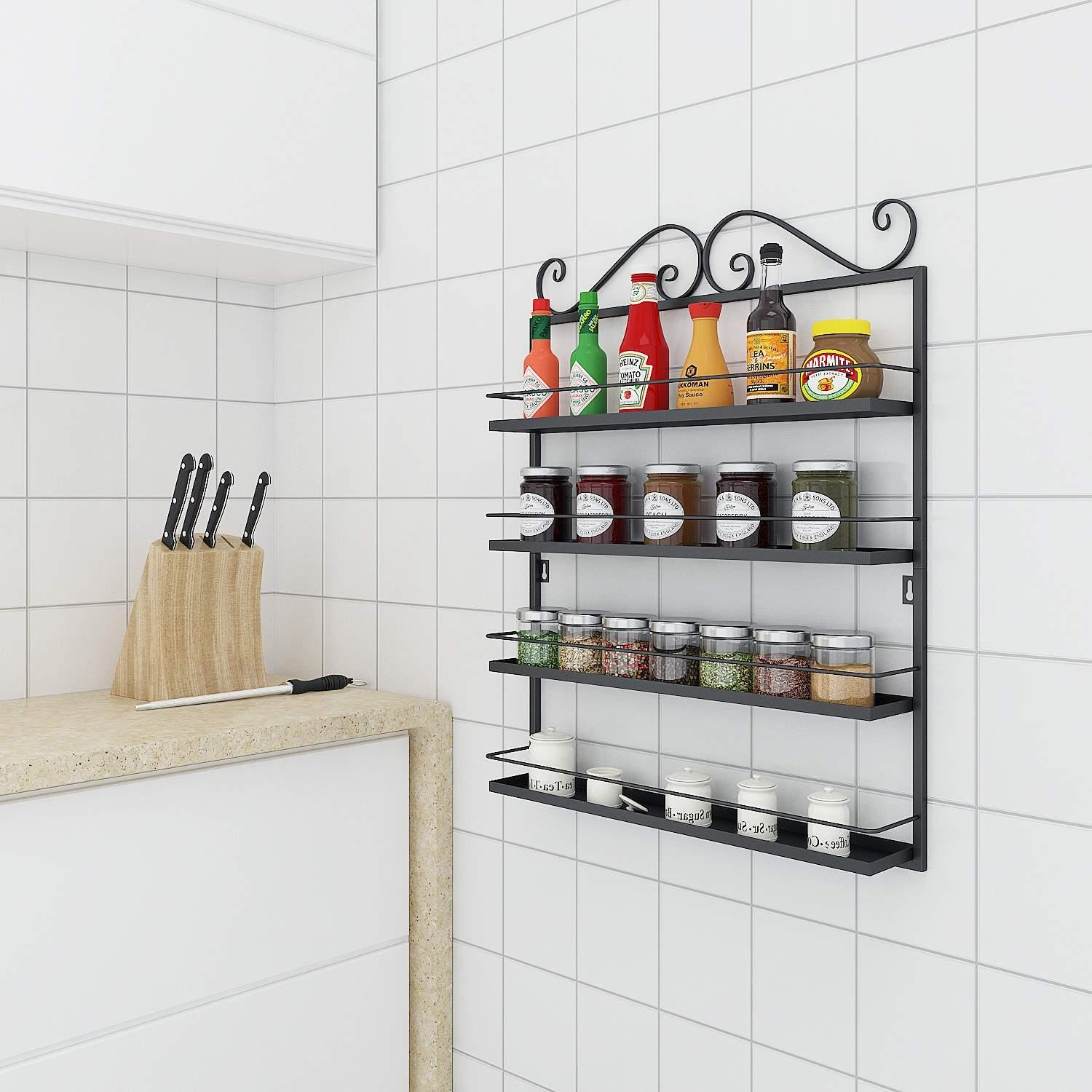 Corgy Kitchen Condiments Storage Shelves Durable Multifunctional Metal 4 Shelf Tie Racks Organizers by Corgy