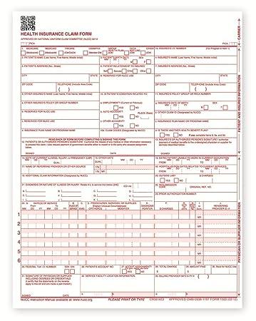 Amazon.com : New CMS 1500 Health Insurance Claim Forms, HCFA ...