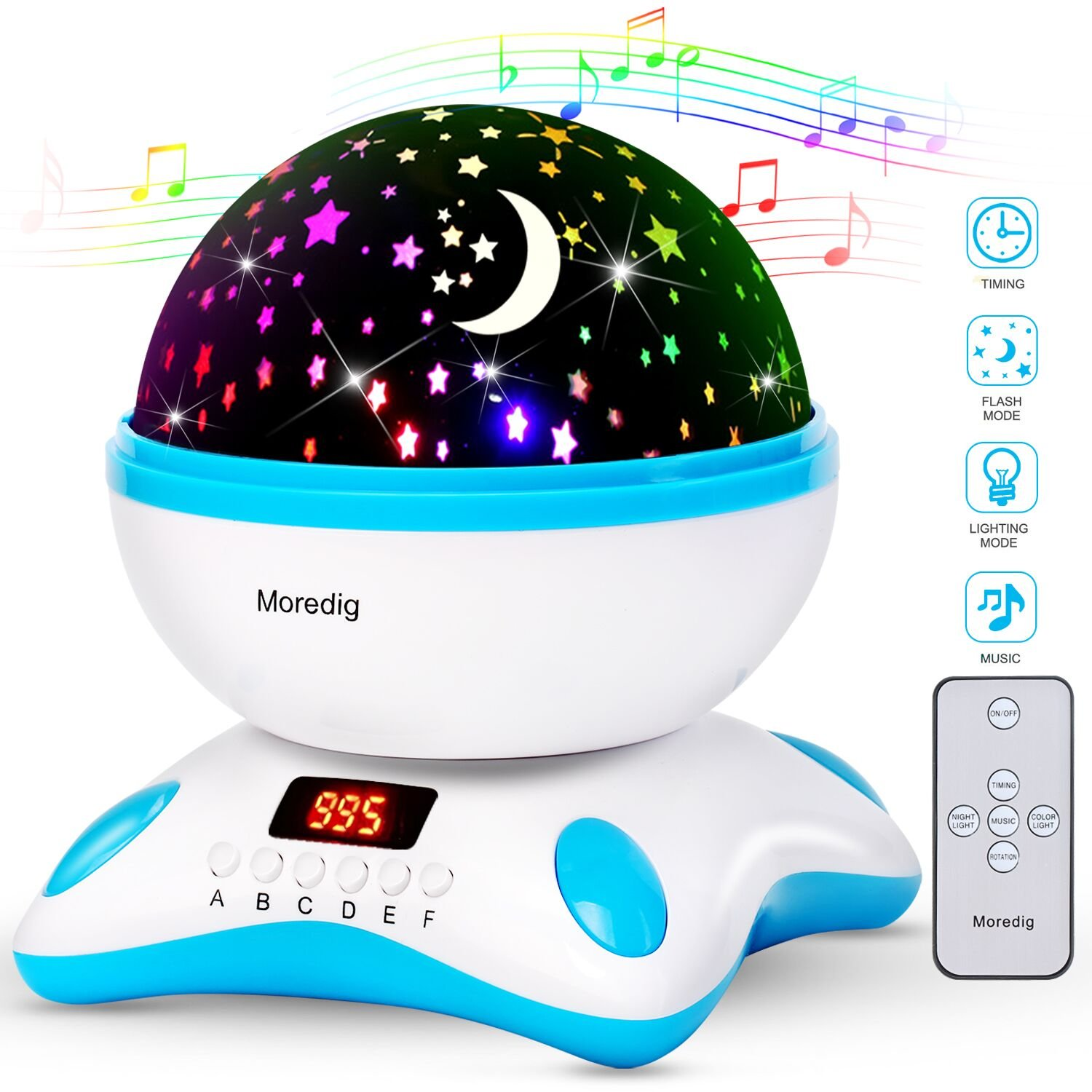 Star Night Light Projector for Kids with Timer and Remote Built-in 12 Light Songs 360 Degree Rotating 8 Colorful Lights Romantic Night Lighting Lamp for Birthday,Parties,Bedroom (Blue White)